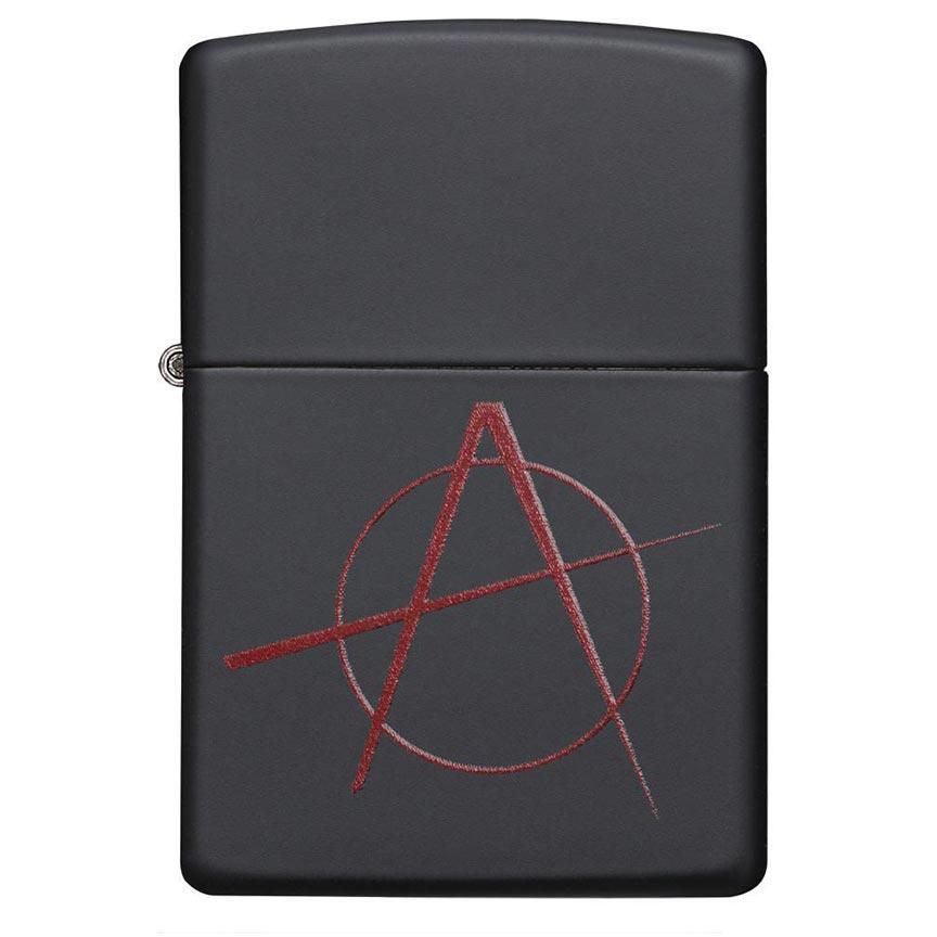 Zippo Windproof Lighter Red Anarchy Symbol Black Matte