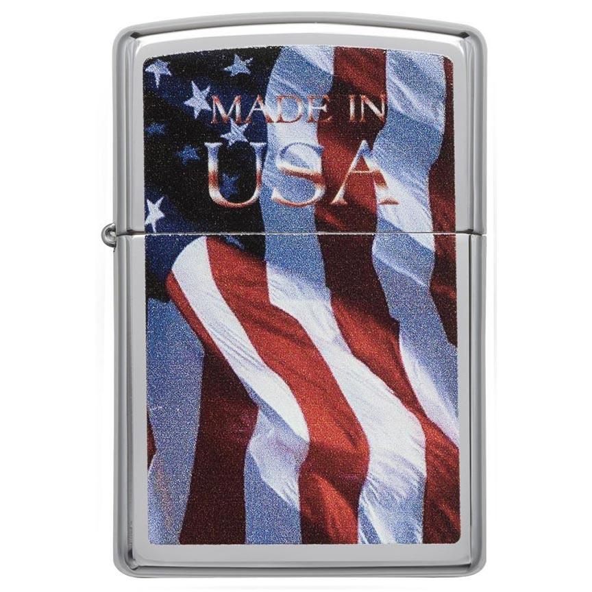 Zippo Windproof Lighter Made in USA Flag High Polish Chrome Finish