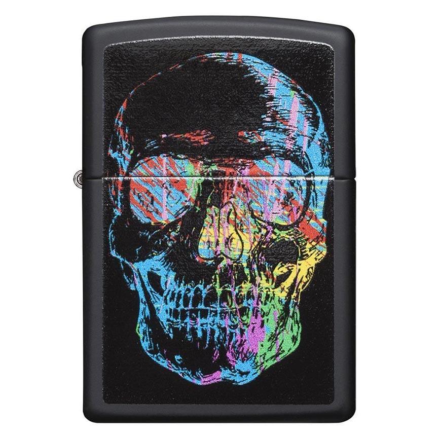 Zippo Windproof Lighter Zippo Colorfiul Skull Black Matte Classic Case