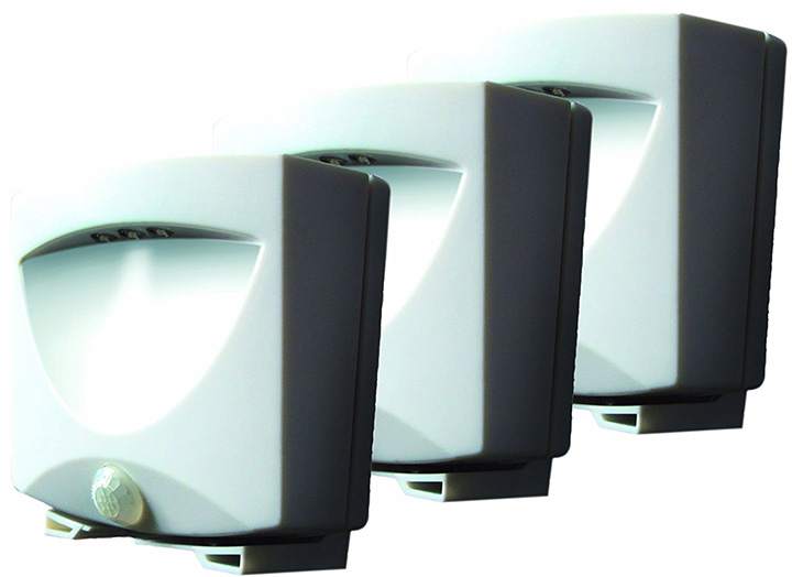 Maxsa White Battery Powered Motion Activated LED Outdoor Night Light Pack of 3