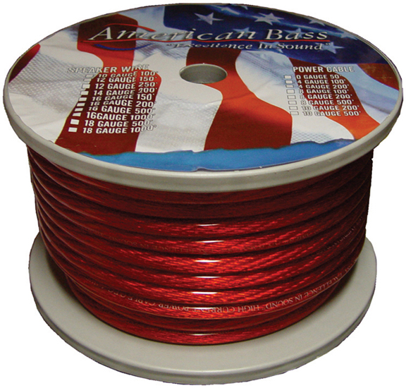 WIRE AMERICAN BASS 8 GA. RED 100 FT ROLL*AB666RD**P8GR* *AB665RD*