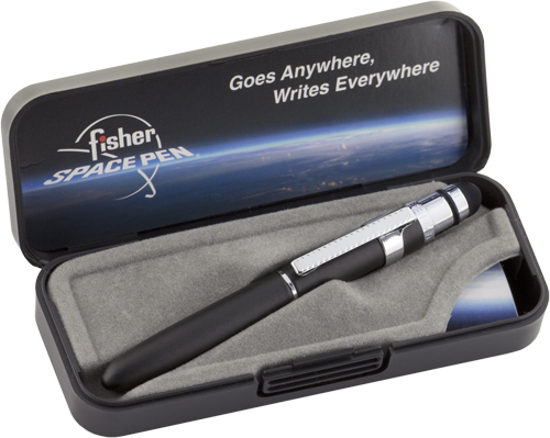 Fisher Space Pen Bullet Grip Space Pen with Clip and Conductive Stylus Black