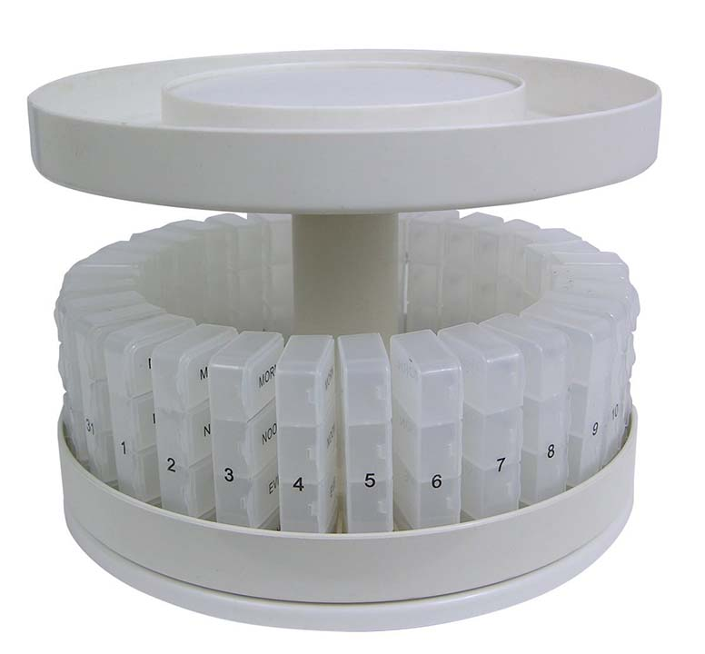North American Health Care Pill Organizer 31 pill holders Rotates 360 degrees