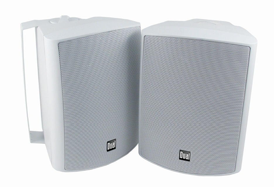 Dual  5-1/4 inch 3-Way In-Outdoor & Bookshelf Studio Monitor Speakers White