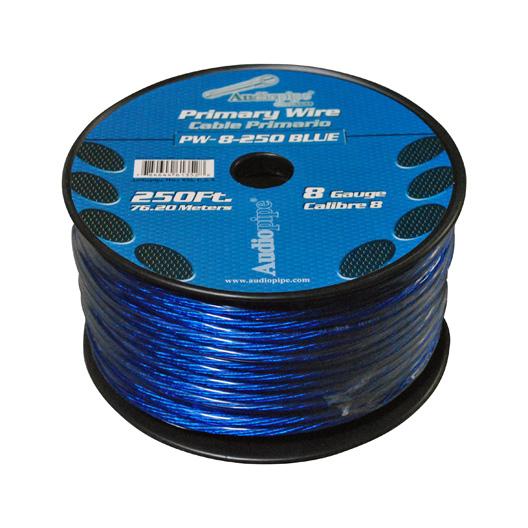POWER WIRE AUDIOPIPE 8GA 250' BLUE